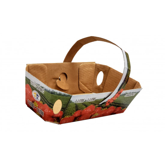 #71BFRP STRAWBERRY BASKET WITH ATTACHED HANDLE <br>1LT-A